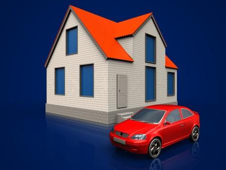 3d illustration of cottage house with car over dark blue background
