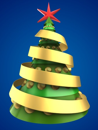 new years: 3d illustration of Christmas tree over blue background with golden balls