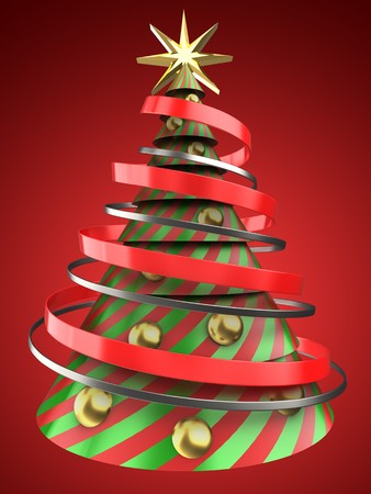 new years: 3d illustration of Christmas tree shape over red background with golden balls