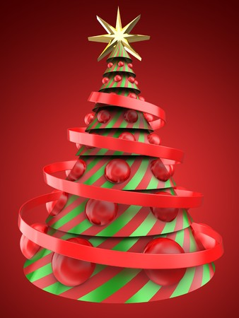 3d illustration of Christmas tree shape over red background with big red balls Stock Photo