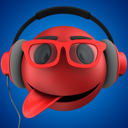 tease: 3d illustration of red emoticon smile with red headphones over blue background Stock Photo