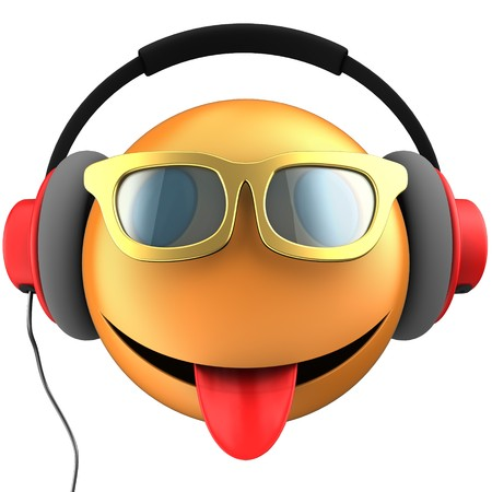 3d illustration of orange emoticon smile with red headphones over white background Фото со стока