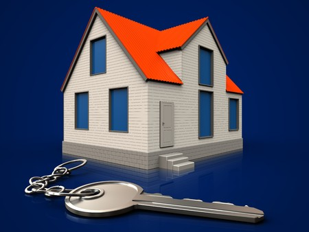 3d illustration of cottage house with key over dark blue background