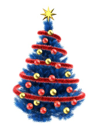 3d illustration of blue christmas tree over white with red balls and frippery red stock illustration
