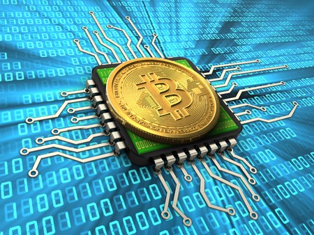 3d illustration of bitcoin over binary background with cpu Stock Photo