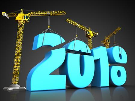 3d illustration of cranes building blue 2018 new year sign over black background