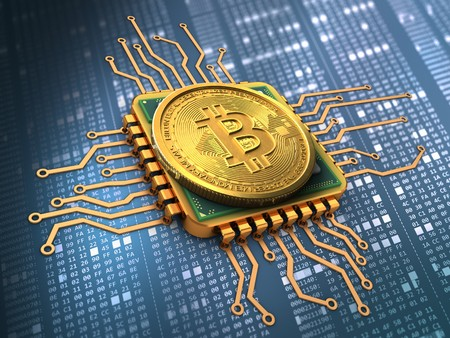 hexadecimal: 3d illustration of bitcoin over hexadecimal background with cpu gold