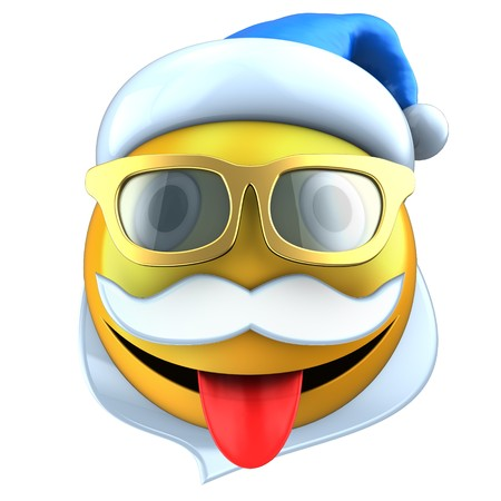 tease: 3d illustration of yellow emoticon smile with Christmas hat over white background