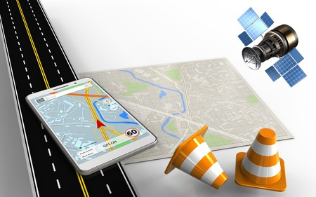 3d illustration of bright map with mobile navigation and repair cones Stock Photo