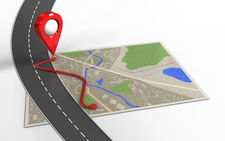 3d illustration of map with route and location pointer