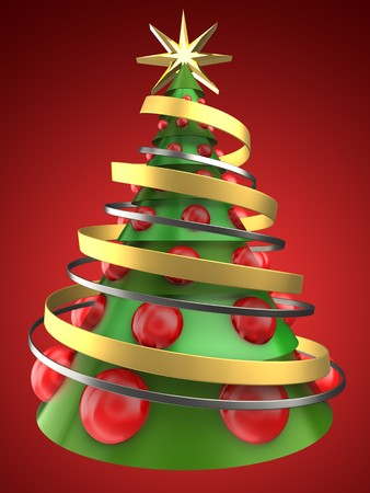 3d illustration of Christmas tree over red background with big red balls Stock Photo