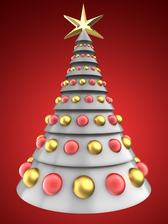 refelction: 3d illustration of white Christmas tree over red background with glass balls