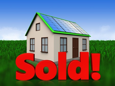 real estate sold: 3d illustration of home with solar panel with sold sign over meadow background