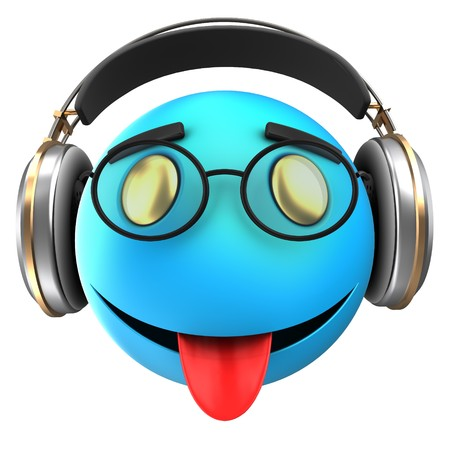 tease: 3d illustration of blue emoticon smile with headphones over white background