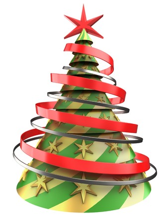 装飾と白い背景上の抽象のクリスマス ツリーの 3 d イラストレーション