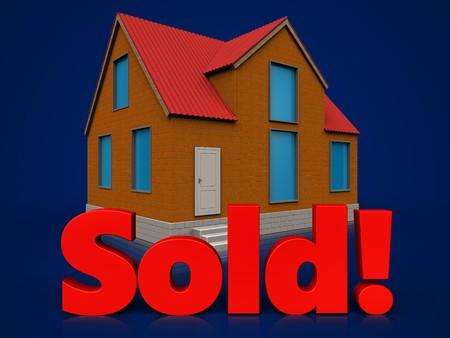 real estate sold: 3d illustration of cottage with sold sign over dark blue background Stock Photo