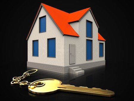3d illustration of cottage house with golden key over black background Stok Fotoğraf