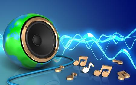 3d illustration of earth globe speaker over sound wave blue background with notes
