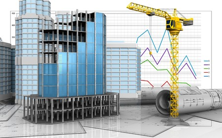refelction: 3d illustration of modern building frame with urban scene over business graph background Stock Photo