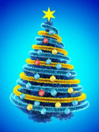 3d illustration of blue Christmas tree over blue with colorful balls and frippery