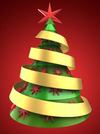 3d illustration of Christmas tree over red background with red stars decoration Stock Photo