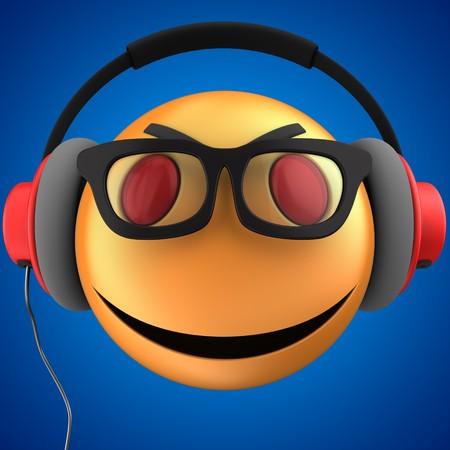 3d illustration of orange emoticon smile with red headphones over blue background