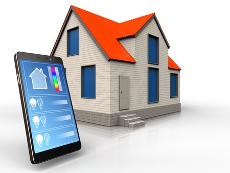 3d illustration of cottage house with phone application over white background