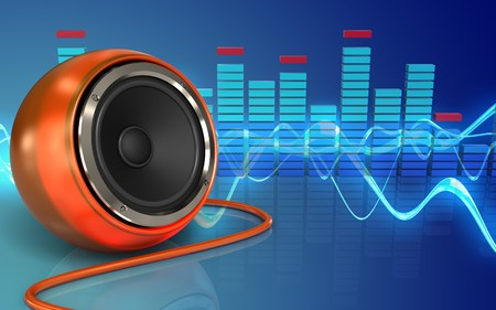 3d illustration of orange speaker over sound wave blue background