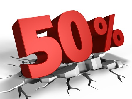 3d illustration of 50 percent discount over white background