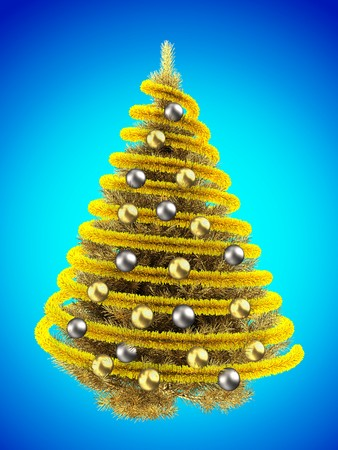 gray gradient reflection: 3d illustration of golden Christmas tree over blue with golden balls and frippery Stock Photo