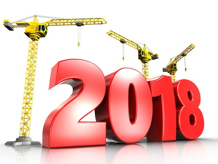 3d illustration of cranes building red 2018 year over white background