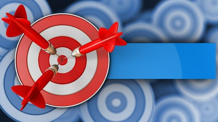 3d illustration of target with three darts over many targets background Stock Photo