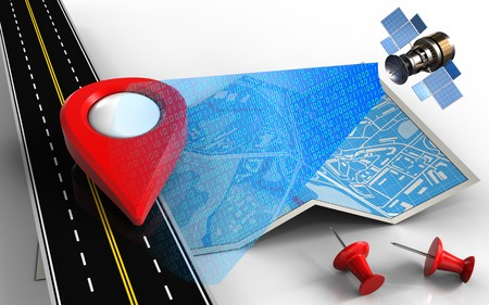 3d illustration of city map with point icon and red pins Stock Photo