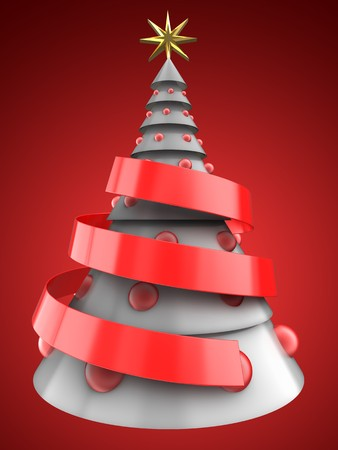 3d illustration of white Christmas tree over red background with red balls
