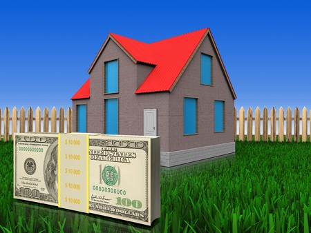 3d illustration of house with money over lawn and fence background
