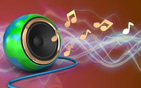 3d illustration of earth globe speaker over red sound wave background with notes