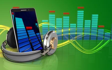 music 3d: 3d illustration of mobile phone over green background