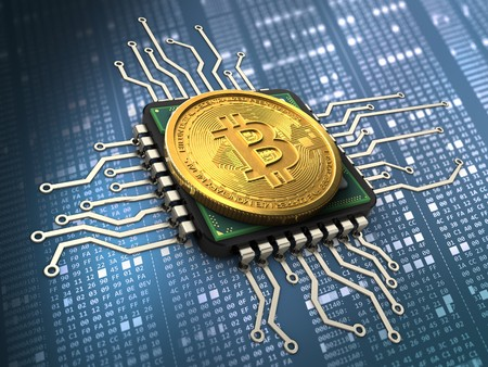 hexadecimal: 3d illustration of bitcoin over hexadecimal background with cpu Stock Photo