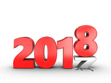 3d illustration of 2018 year sign over white background Stock Photo