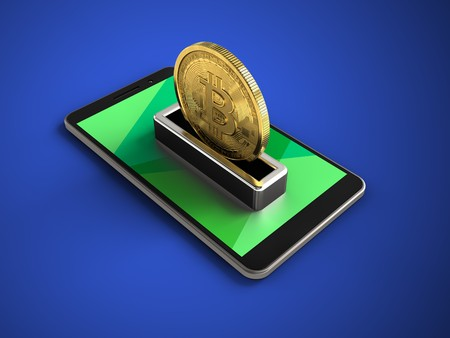 peer to peer: 3d illustration of mobile phone over blue background with bitcoin Foto de archivo