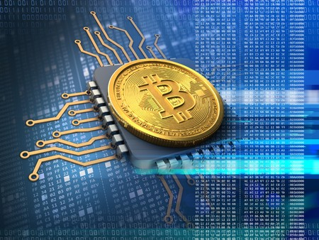 hexadecimal: 3d illustration of bitcoin over hexadecimal background with cpu blue