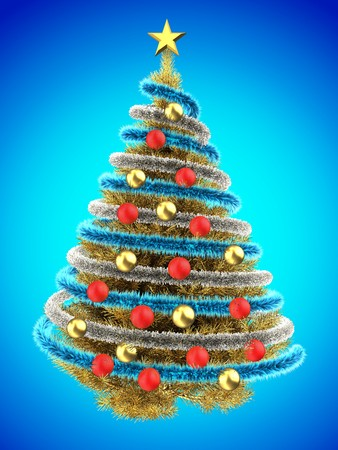 gray gradient reflection: 3d illustration of golden Christmas tree over blue with red balls and frippery Stock Photo