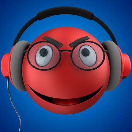3d illustration of red emoticon smile with red headphones over blue background Stock Photo