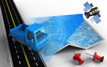 3d illustration of city map with truck and red pins Stock Photo