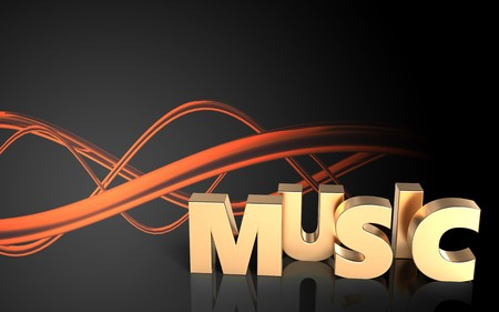 3d illustration of music sign over sound wave orange background