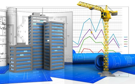 3d illustration of city buildings with drawings over business graph background
