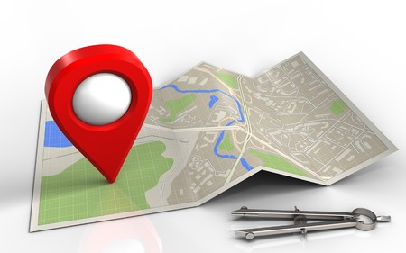 3d illustration of map paper with location pin and Stock Photo