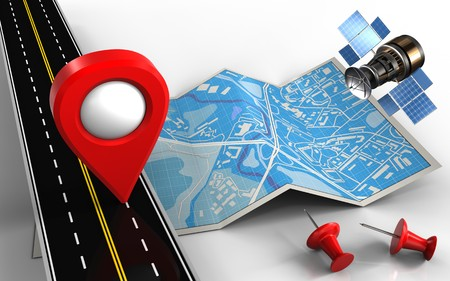 3d illustratie van de plattegrond met de locatie pin Stockfoto