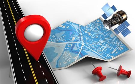 Ilustración 3D de mapa de la ciudad con pin de ubicación Foto de archivo - 87532767