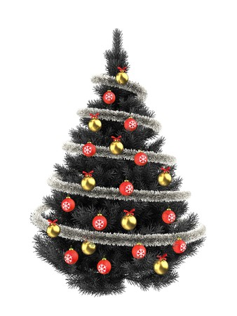tinsel: 3d illustration of gray Christmas tree over white with red balls and frippery